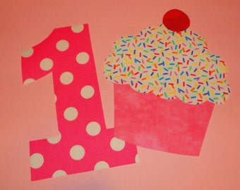 Iron On Fabric Applique PINK Polka Dot BIRTHDAY Number 1 One With Pink Sprinkle CUPCAKE...You May Request Any Other Number