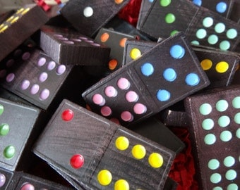 Vintage Dominoes Colored Wooden  Game Pieces 15
