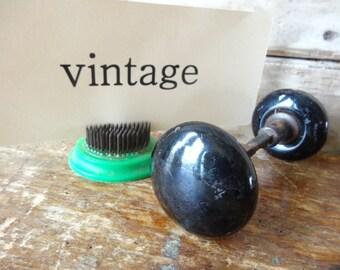Vintage Porcelain Black Door Knobs Sweet Pair