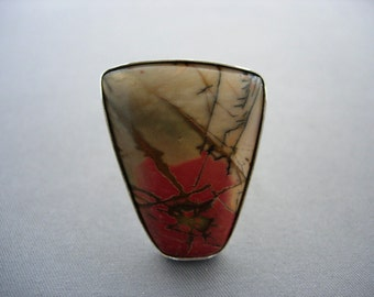 Ladies solid sterling silver cherry creek jasper cabochon ring