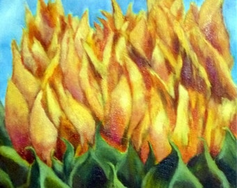 Abstract Sunflower oil painting by Alexandra Kopp 12x16