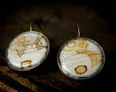 Antique Vintage Map Earrings, Blue, Vintage Like Brass Color Finish, Teacher Gift, Grad Gift, Travelors Gift,