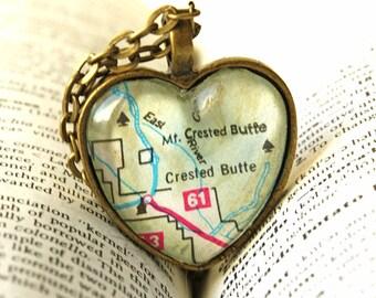 Colorado State Necklace , Crested Butte Colorado, Map Necklace, Map Pendant Colorado Necklace, Map Jewelry, I Heart Crested Butte Colorado
