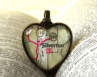 Map Necklace , Colorado Necklace , Silverton Colorado, Map Pendant , Map Jewelry, I Love Silverton , Colorado Wedding , Colorado Vacation