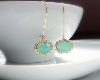 Mint aqua chalcedony  GLASS oval and gold dangle earrings.  Bridal earrings.  Bridesmaids earrings.  Wedding earrings.