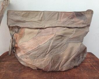 1970s leather BOHO patchwork purse