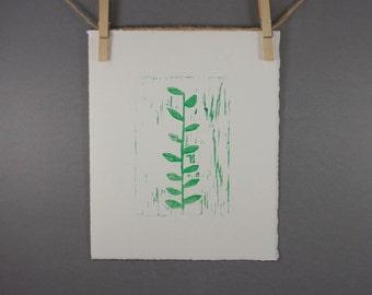 Summer Garden Ivy Linocut PRINT Plant 8x10 hand pulled