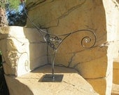 """Custom listing with 24"""" pedestal base per convo Abstract Metal indoor/outdoor garden Sculpture by Holly Lentz"""