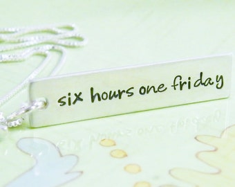 six hours one friday sterling silver hand stamped pendant with cross