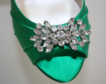 Emerald Green Wedding Shoe With Bling - Choose From Over 200 Colors - Several Heel Heights Available - Wide Size Available - Emerald Wedding