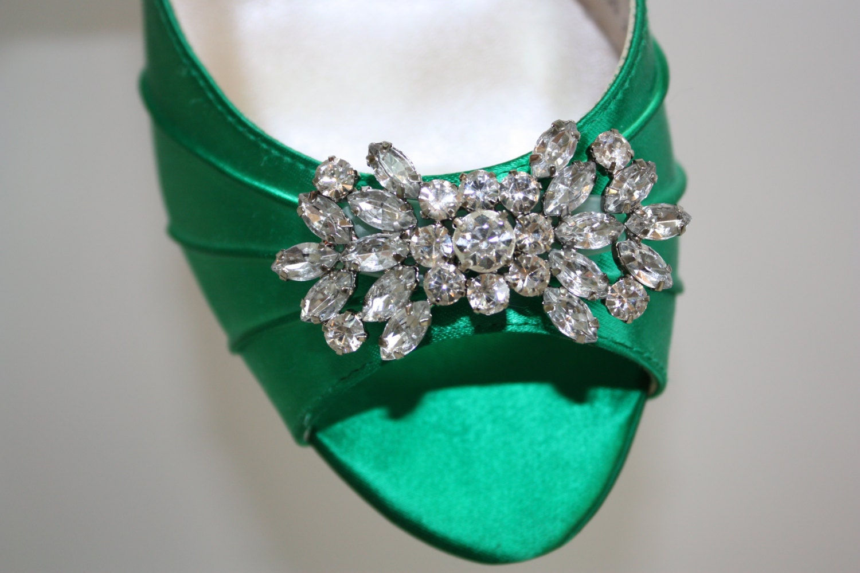 Chaussure A Talon Vert Emeraude