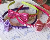 Headband, Sequin Bow with Heart Rhinestones, Crown - Girls Hair Accessories - Head Piece