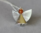 Handmade Silver Angel Necklace With Red Agate Head 149