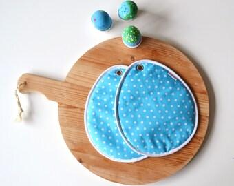 easter egg potholders - polkadot turquoise kitchen potholders - easter egg potholders - easter hostess gift idea - easter foodie gift idea