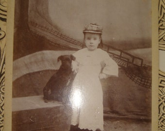 ViNtAgE PhoTo Awesome Antique CDV Cabinet Card Photo Sweet Girl with her Dog and Cat