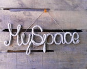 My Space Rustic Sign Wall Hanging, Natural Hemp Sign Primitive Decor, Crochet Tube Sign Wire Wrapped