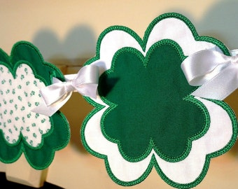 """Lucky Clover ITH Banner Machine Embroidery Design Applique Pattern all done In-The-Hoop 3 sizes 4"""", 5"""" and 6"""""""