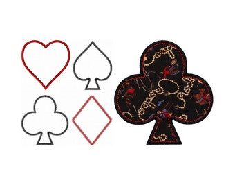 "Playing Card Symbols Appliques Machine Embroidery Design Patterns 3 edge variations in 4 sizes each 3"", 4"", 5"", 6"""