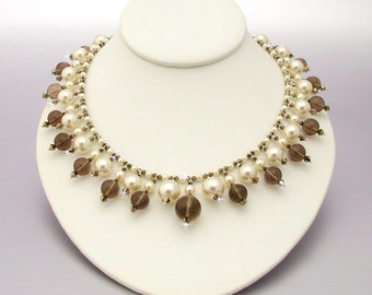 Regal Necklace of Smokey Quartz and Swarovski Pearls & Crystals