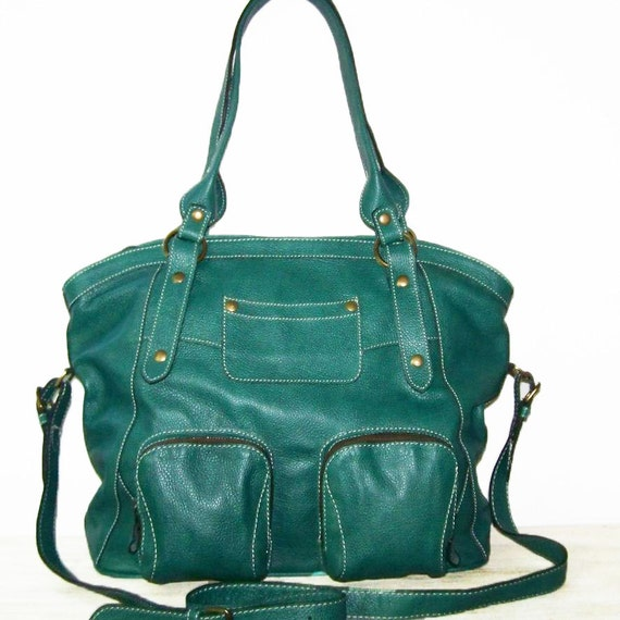 teal green leather tote bag handbag crossbody bag magui size l
