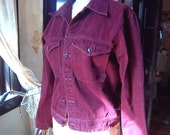 NOW 20% OFF Sale Vtg 70s Deep Magenta-Wine Denim Jean Jacket, Awesome Condition 1970s Sz M-L
