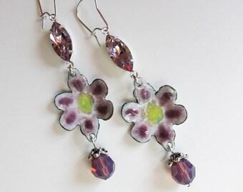 Purple enamel vintage style flower earrings Whimsical fun drops Crystal dangles Bohemian enameled copper gypsy jewelry
