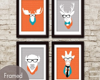 Animal Heads - Set of 4 - Art Prints (Featured in Assorted Colors) Moose, Deer, Buffalo and Giraffe Heads with Glasses
