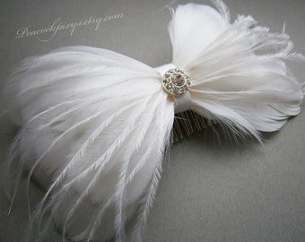 White, Wedding, hair, accessory, weddings, Bridal, Fascinator, Feather, Feathered,  Accessory, Ivory, Facinator, Accessories - BRIDAL BOW