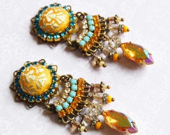 yellow sari silk brocade rhinestone earring chandeliers hangers