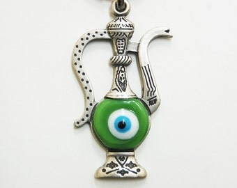 Ottoman Pitcher Handmade Evil Eye Silver Plated Key Chain