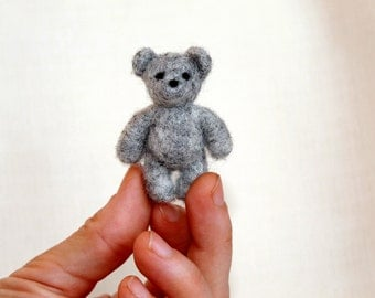Miniature grey teddy, needle felted grey bear, dollhouse bear, teddy lovers gift