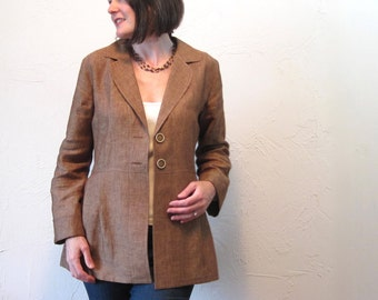Linen Jacket with Notched Collar - Tobacco Brown - Pleated with Pockets