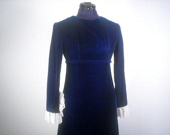 Vintage Velvet Dress // Royal Blue Party Dress 1960s Formalwear Lace Ruffle Cuff Mod Maxi Dress Long Sleeve