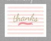 Pink and Gold Glitter - Girl THANK YOU, Gracias, Merci - Digital file for at home printing
