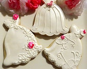 Custom order 40 fushia flower mixed dress Decorated Sugar Cookies Shimmer Wedding Dresses Bridal Shower favor