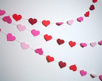 Hearts Paper Garland - Choose Your Colors - Valentine's Day Decor