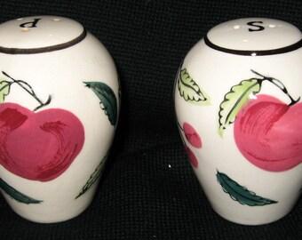 Vintage Salt and Pepper Shakers / Ceramic Fruit Pattern / Apples  Pears and Cherries