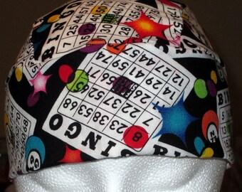 Handmade Bingo Skull Cap, Men, Women, Chemo Cap, Biker, Hats, Do Rag, Head Wrap, motorcycle, Surgical Cap, Gambler, Helmet Liner, Handmade