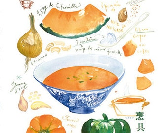 Pumpkin soup illustrated recipe watercolor painting, Orange Kitchen decor, 8X10 print, Kitchen art, Home decor, Food illustration Vegetable