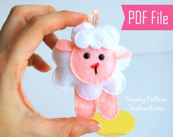 Baby Sheep Sewing Pattern - Toy Doll Softie  PDF Sewing Pattern and Instructions Instant Download   A776