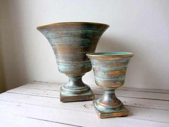 Vintage /  Teal and Gold Ceramic Pedestal Planters