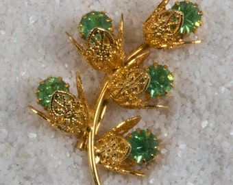 Vintage Goldtone Brooch with Lime Green Solitaire Rhinestones Prong Set Beautiful Costume Jewelry
