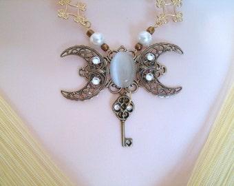 Moon Necklace, victorian jewelry edwardian jewelry renaissance jewelry medieval jewelry art nouveau jewelry art deco steampunk neo victorian
