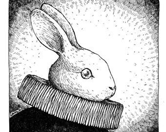 White Rabbit art print Easter Nursery