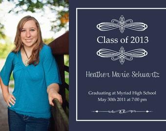 Blue Classic Graduation Announcement GRADUATION ANNOUNCEMENT