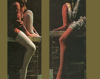 Vintage knit Stockings Knitting Pattern PDF 494 from WonkyZebra