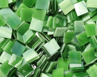 Grassy Green Stained Glass Mosaic Tiles