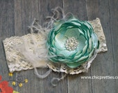 Baby Girl Headband. Mint and Cream Posh Satin Flowers Headband. Shabby Chic. Matilda Jane. Boutique Headband.