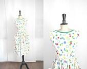 White Cotton  Polka Dot Summer Dress Vintage 1950s