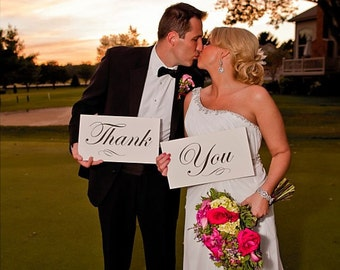 Wedding Photo Prop Thank You Sign Script Font and Custom Color for Your Wedding Photography